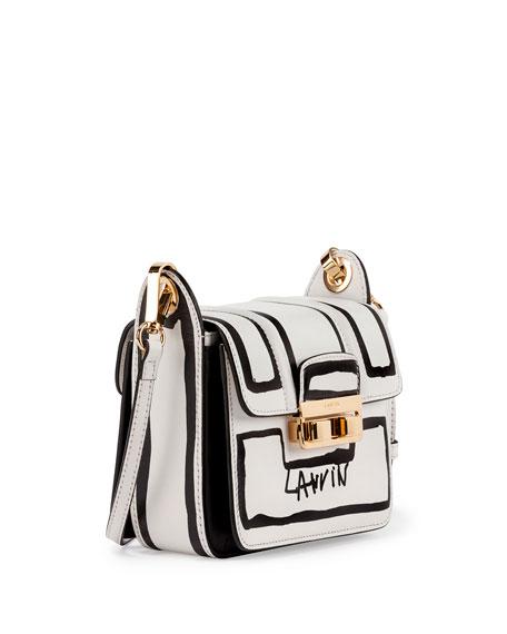 Lanvin Jiji Lanvin-Print Mini Shoulder Bag, White/Black