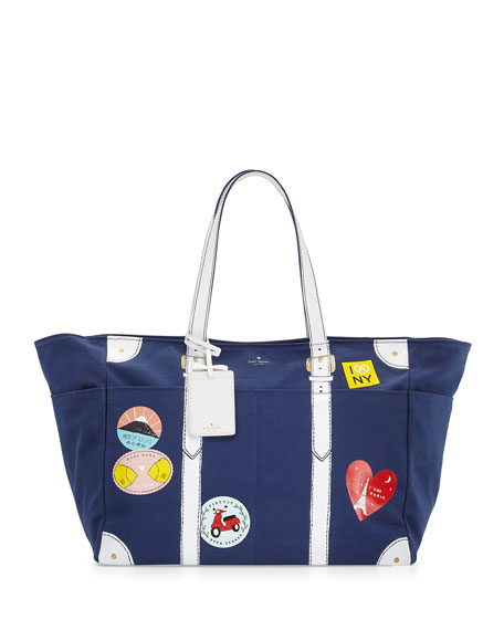 kate spade new york shalet holiday travel tote bag, french navy/multi
