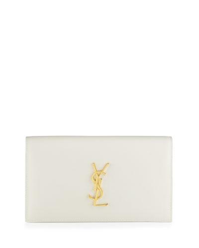 Monogram Calfskin Clutch Bag, Blanco