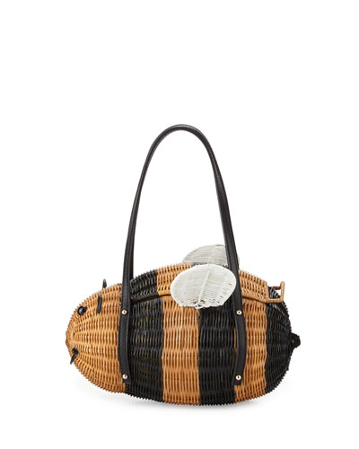 down the rabbit hole wicker bee satchel bag, natural/black