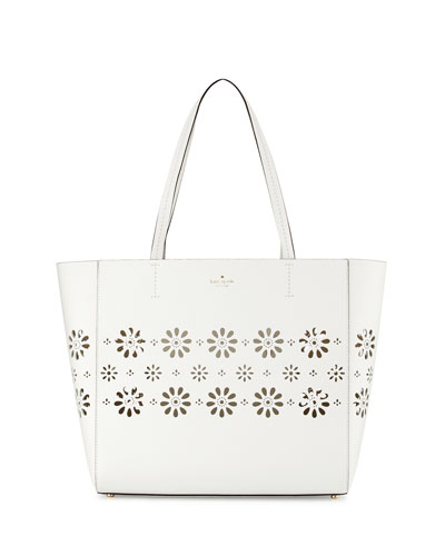 faye drive hallie laser-cut tote bag, bright white/gold