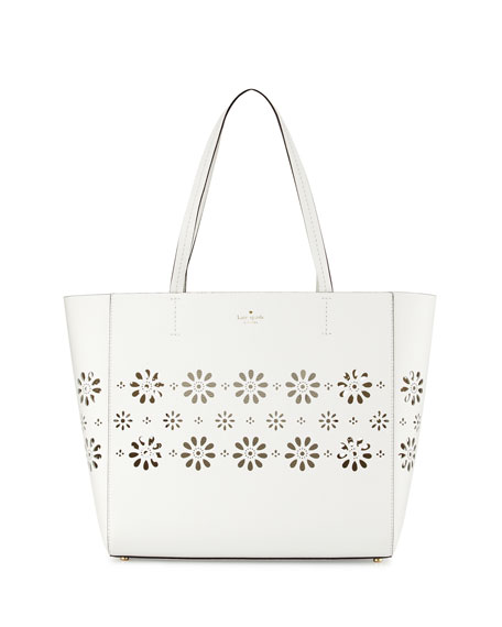 kate spade new york faye drive hallie laser-cut tote bag, bright white/gold ...