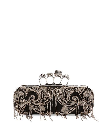 Alexander McQueen Knuckle Box Chain Clutch Bag, Black
