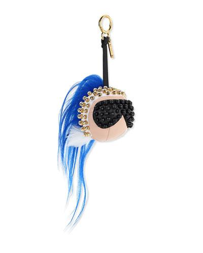Karlito Studded Charm for Handbag, Black/White/Blue