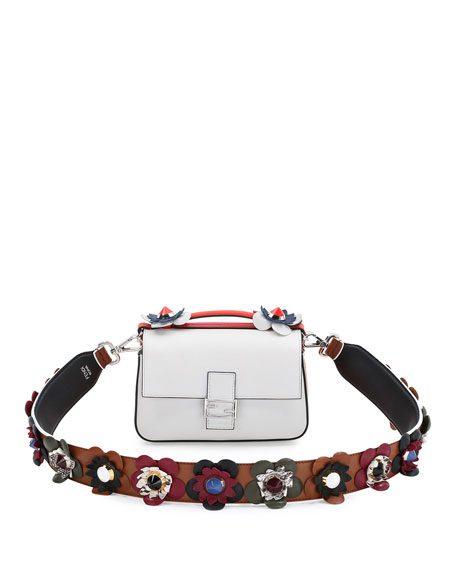 Flower & Stud Leather Strap, Nude/Multicolor