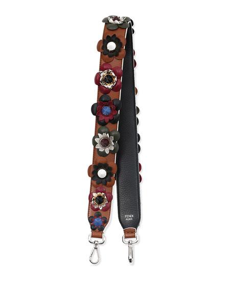 Flower & Stud Leather Strap, Nude/Multicolor