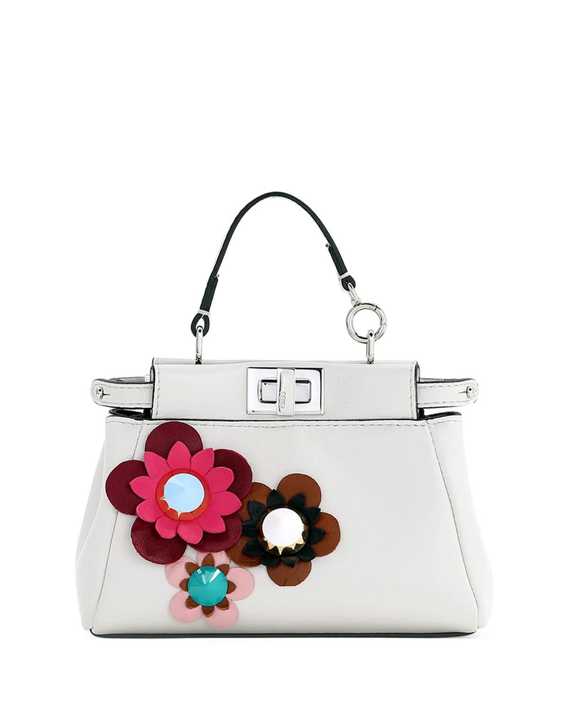 bd53f384bf8 Fendi Peekaboo Micro Flower Satchel Bag, White | Neiman Marcus