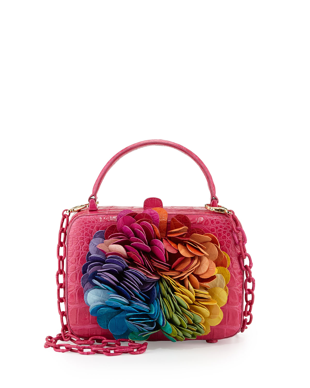 849a48edf4 Nancy Gonzalez Floral-Applique Crocodile Box Clutch Bag