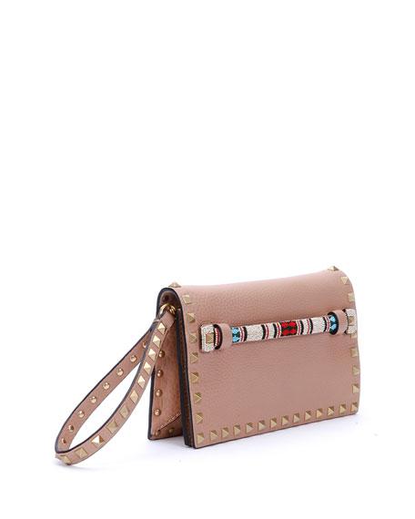 0ec6ea9876 Valentino Garavani Small Beaded-Strap Rockstud Clutch Bag, Beige | Neiman  Marcus