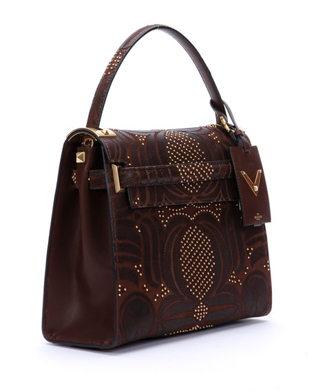 My Rockstud Medium Primitive Satchel Bag, Brown
