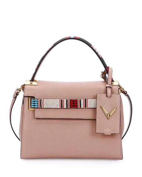Valentino My Rockstud Small Beaded Satchel Bag, Beige