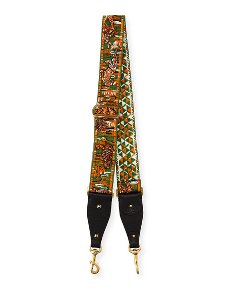 Valentino Animal-Embroidered Guitar Strap for Handbag, Green