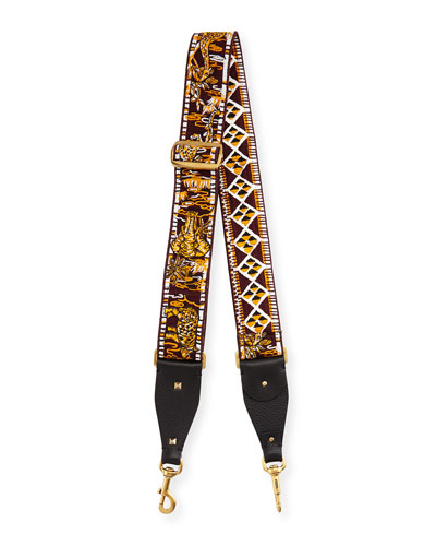Animal-Embroidered Guitar Strap for Handbag, Bordeaux