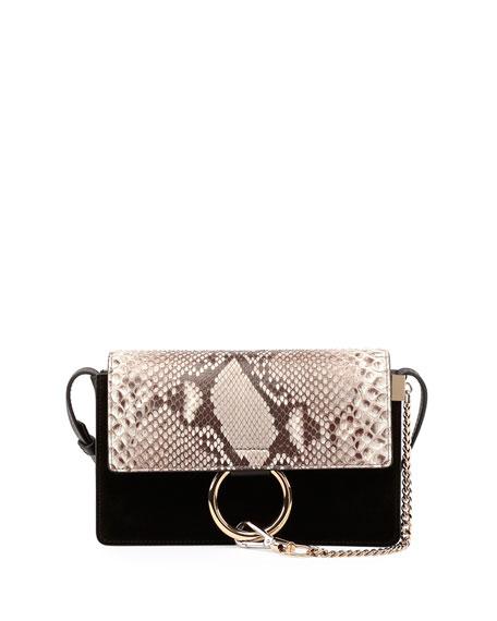 Faye Small Python & Suede Shoulder Bag