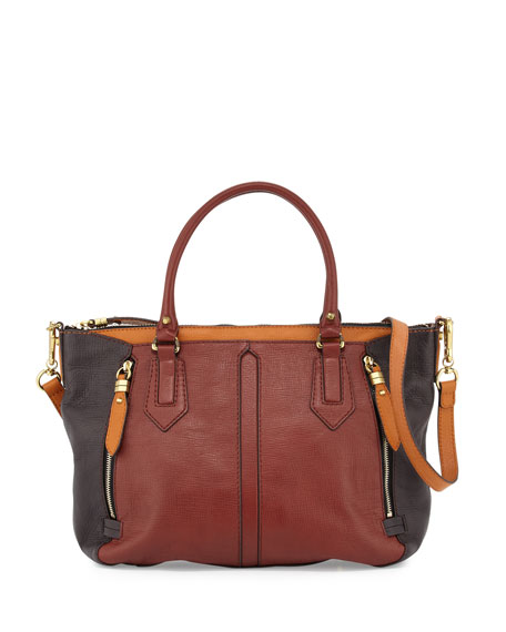 Oryany Dana Diamond Leather Satchel Bag, Burgundy/Brown