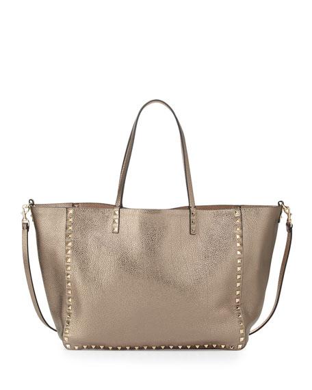 Valentino Rockstud Reversible Tote Bag, Pewter/Gold