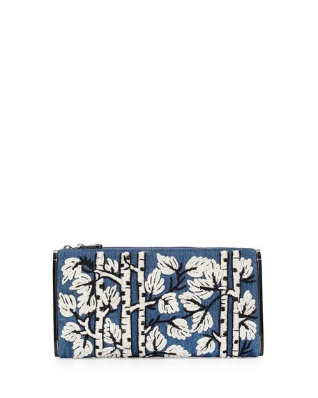 Jumbo Soft Lara Embroidered Clutch Bag, Denim