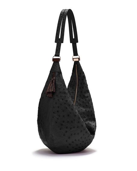 THE ROW Sling 15 Ostrich Leather Hobo Bag, Black