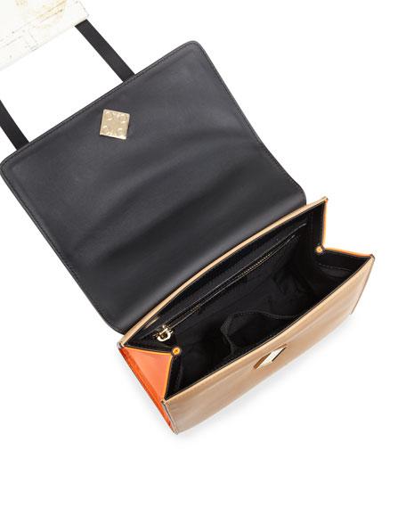 Alex Mini Black Widow Satchel Bag, Camel/White/Orange