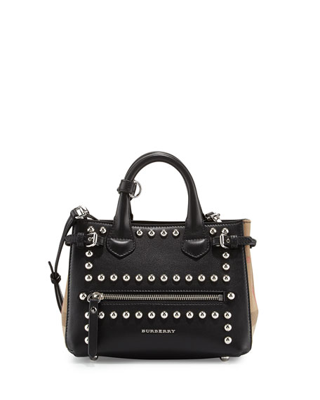 Burberry Baby Banner Leather Stud Satchel Bag, Black