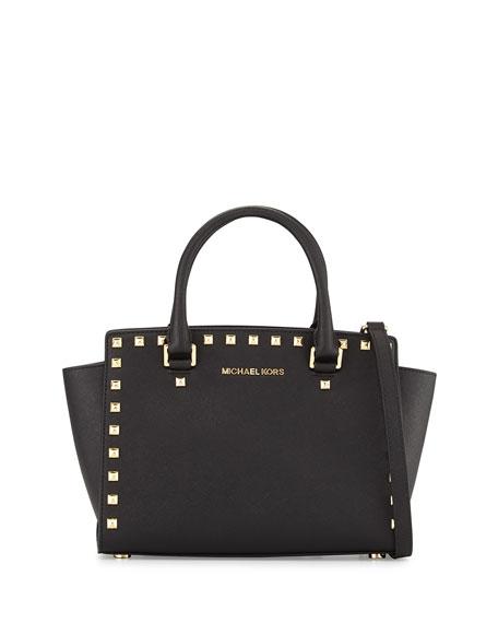 Selma Stud Medium Zip Satchel Bag, Black