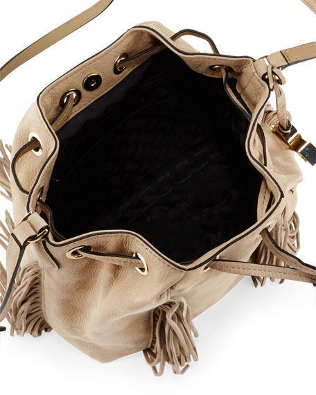 Boho Disco Leather Bucket Bag, Sand
