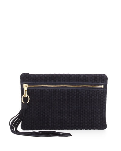 Scott Woven Suede Clutch Bag, Navy