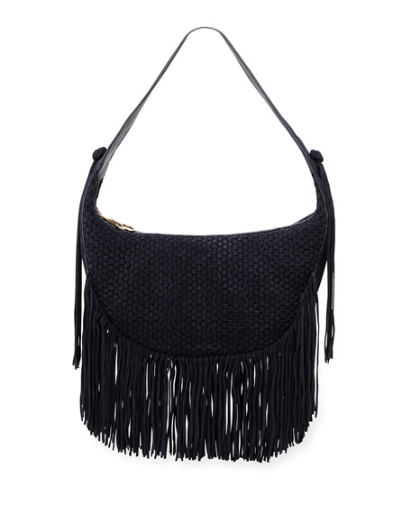 Elizabeth and James Zoe Woven Suede Hobo Bag,