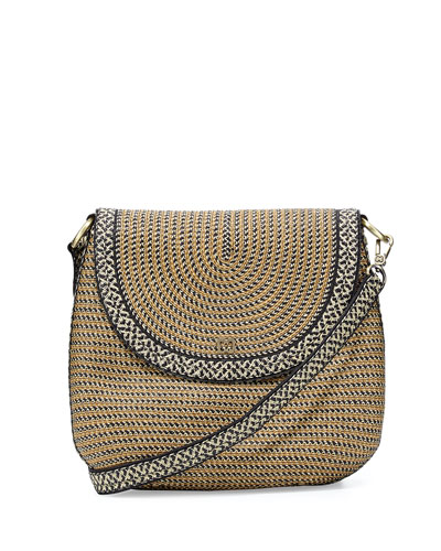 Squishee Demi Pouch Crossbody Bag, Natural Black Mix