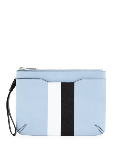 Striped Leather Zip Clutch Bag, Light Blue