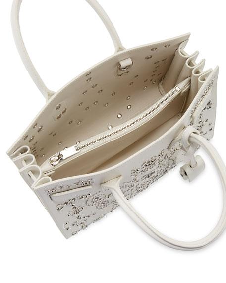 yves st larent - Saint Laurent Sac de Jour Baby Bandana Embroidery Satchel Bag, White