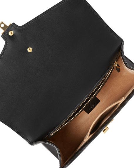 Sylvie Small Leather Shoulder Bag, Black/Green/Red