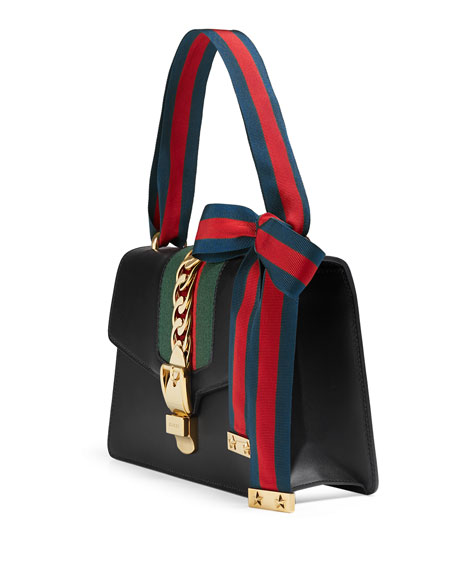 Gucci Sylvie Small Leather Shoulder Bag, Black/Green/Red