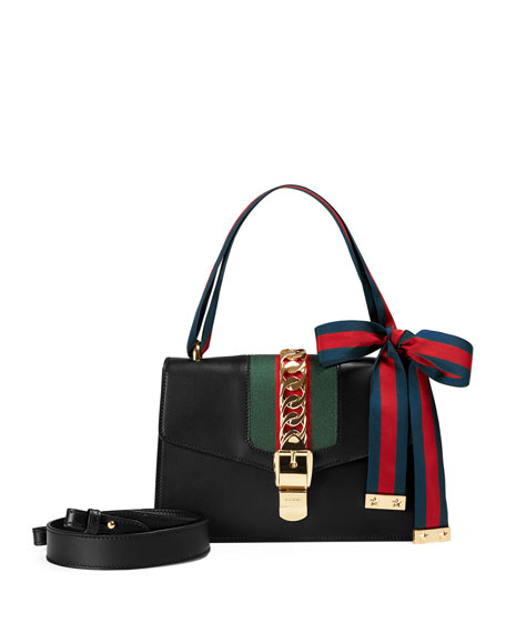 b3ed4bfe9d6bf5 Gucci Sylvie Small Leather Shoulder Bag, Black/Green/Red