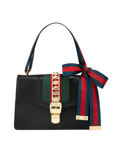 Sylvie Grosgrain-Striped Shoulder Bag, Black/Green/Red