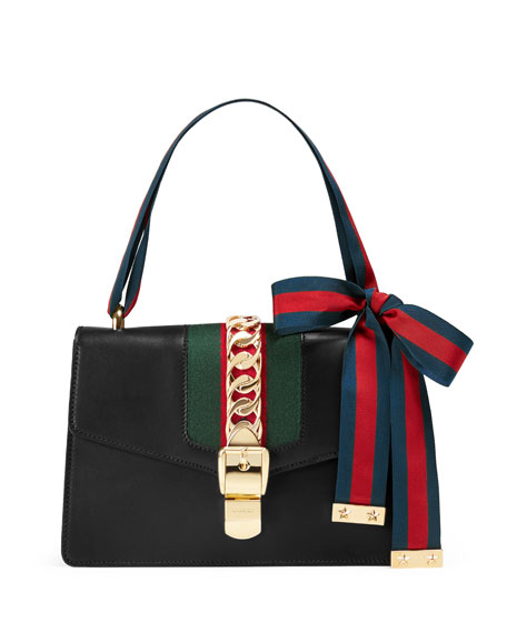 Sylvie Small Leather Shoulder Bag, Black/Green/Red