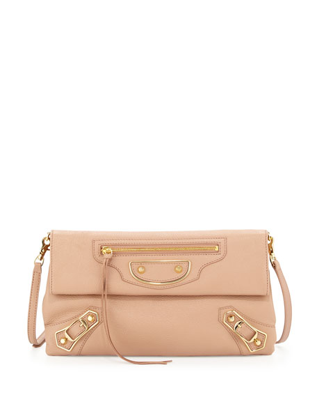Balenciaga Metallic Edge Envelope Crossbody Bag, Rose