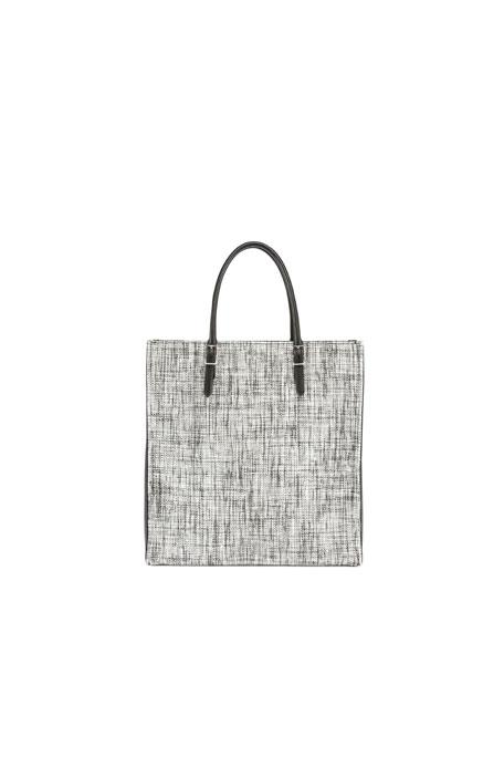 Paper Zip-Around Plate Tweed Tote Bag, Black