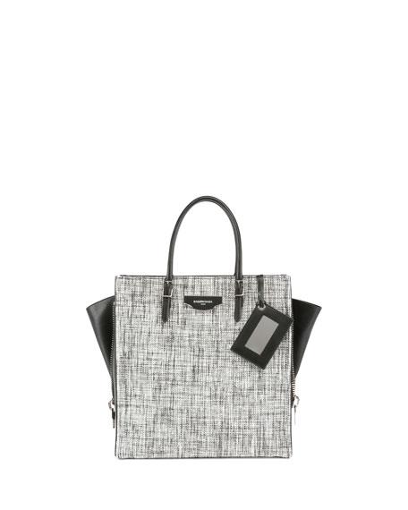 Balenciaga Paper Zip-Around Plate Tweed Tote Bag, Black