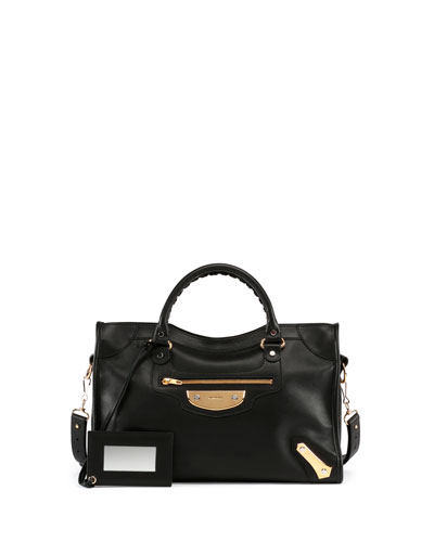 Metal Plate City AJ Satchel Bag, Black
