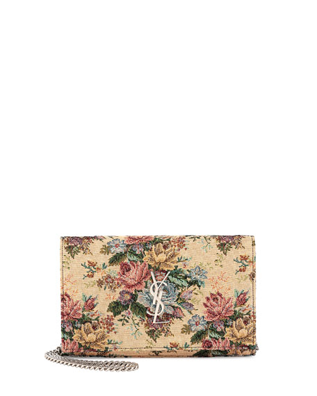ysl clutch bag uk - Saint Laurent Monogram Tapestry Bouquet Shoulder Bag, Multi