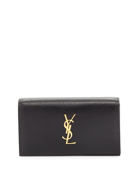 Saint Laurent Monogram Grain Calfskin Clutch Bag, Black