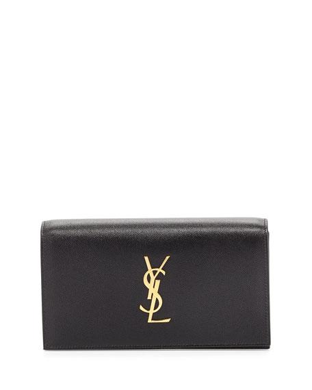 Monogram Grain Calfskin Clutch Bag, Black