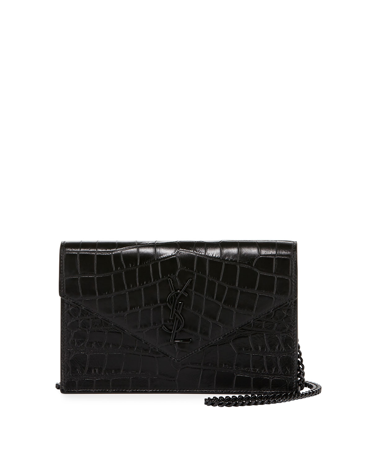 17517e2140 Monogram Croc-Stamped Wallet-on-a-Chain, Black