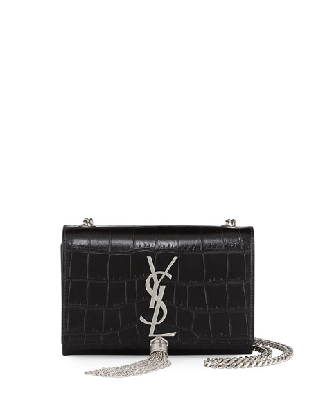 Saint Laurent Monogram Small Croc-Stamped Shoulder Bag, Black