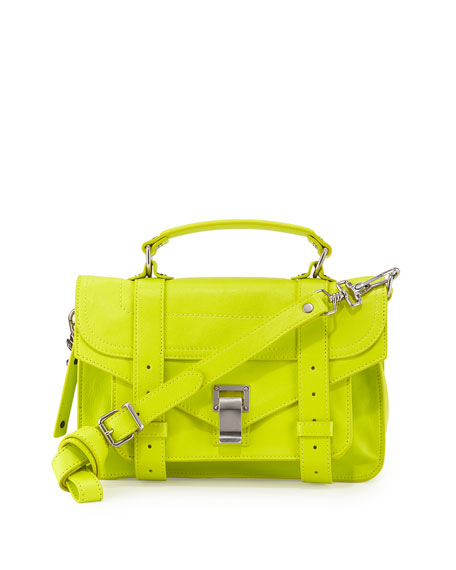 Proenza Schouler PS1 Tiny Leather Mail Bag, Yellow