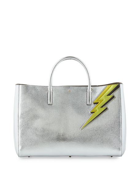 Anya Hindmarch Ebury Maxi Featherweight Lightning Bolt Tote Bag, Silver