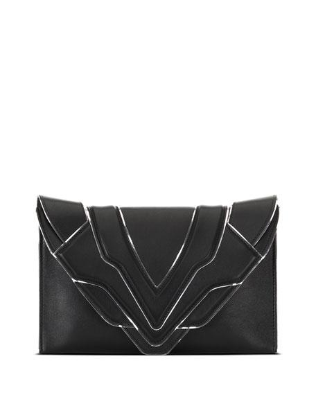 Elena Ghisellini Selina Silver Line Clutch Bag, Black/Silver