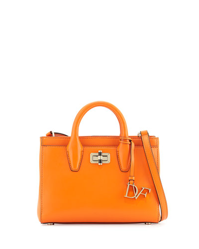 440 Gallery Mini Viviana Leather Tote Bag, Fire Orange