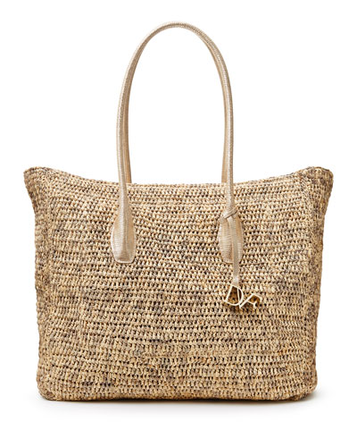 Voyage Raffia/Leather Large Box Tote Bag, Natural/Gold